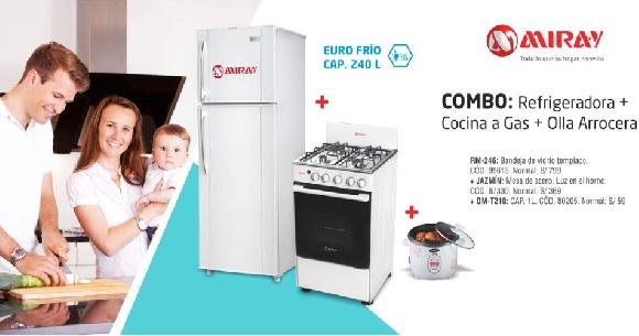 Combo – Refrigeradora + Cocina a gas + Olla arrocera